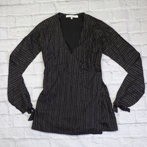 Lovers + Friends Black and Silver Striped Wrap